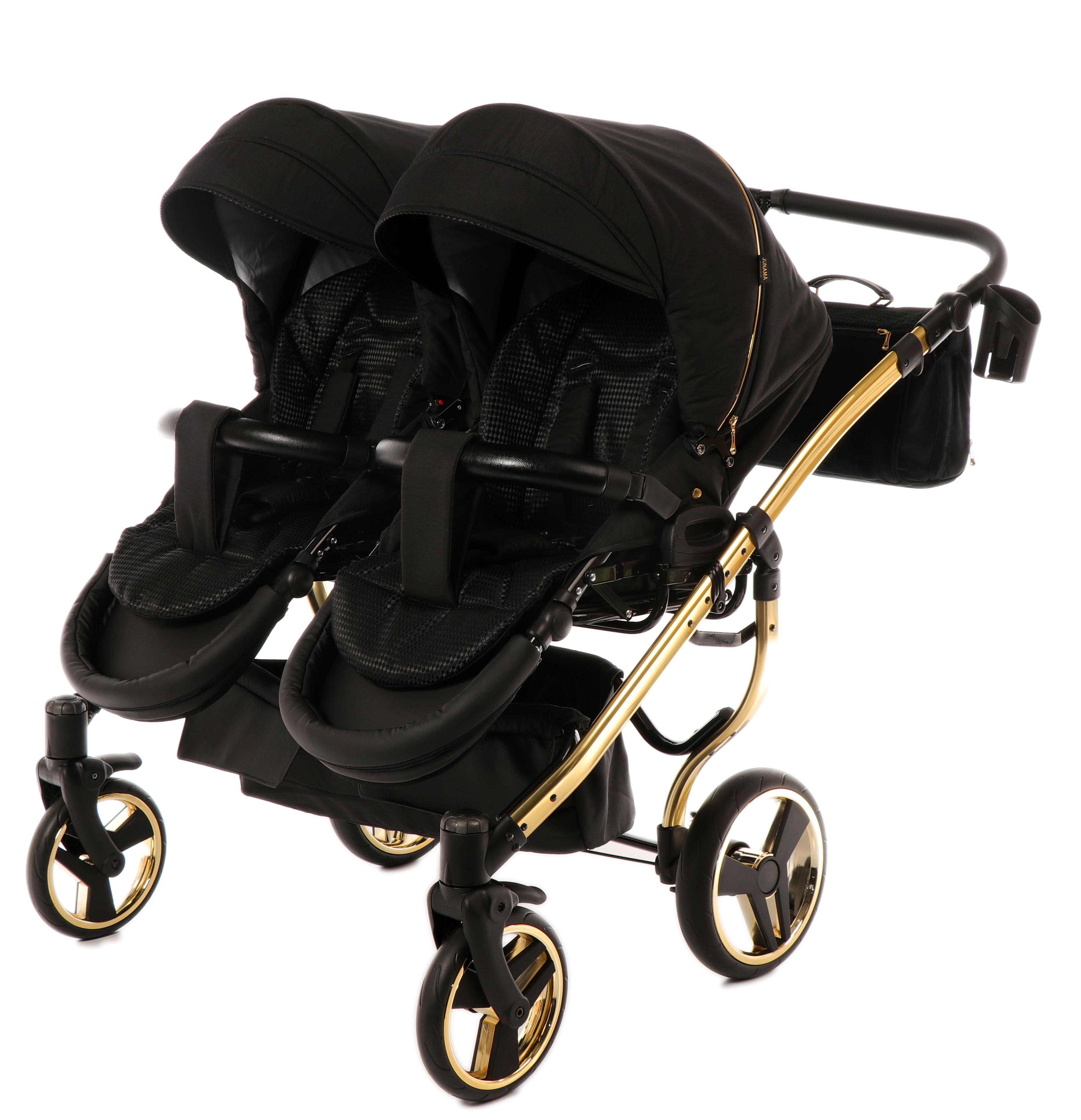 wózek bliźniaczy Junama Diamond s Line Duo wiielofunkcyjny spacerowy czarny elegancki